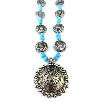 Sun Pendant necklace: Blue/017