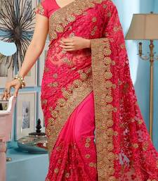 Buy Pink embroidered net saree with blouse hot-deal online