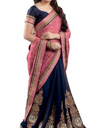 pink embroidered georgette-sarees saree with blouse