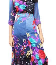 Buy Grey printed stitched chiffon-kurtis chiffon-kurti online