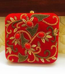 Buy Velvet Zardosi Box Clutch clutch online