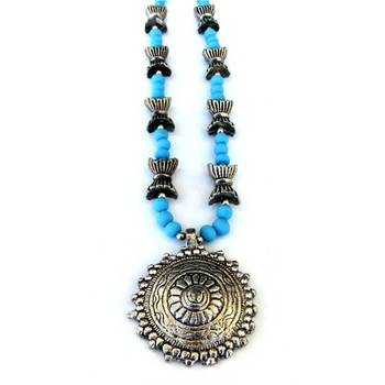 Sun Pendant necklace: Blue/025