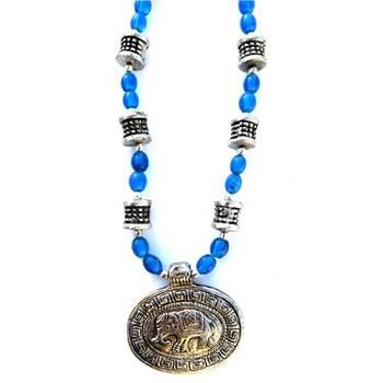 Elephant Pendant necklace: Blue/029