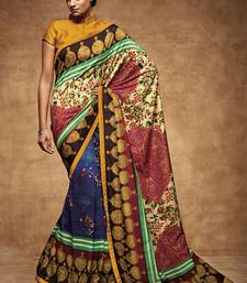 Buy Multicolor printed pure tussar silk saree with blouse tussar-silk-saree online