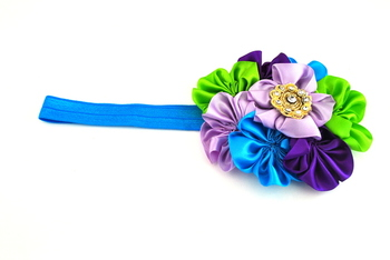 Blue and purple boquet baby  hairband (blue elastic)