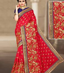 Buy Red hand woven silk saree with blouse silk-saree online
