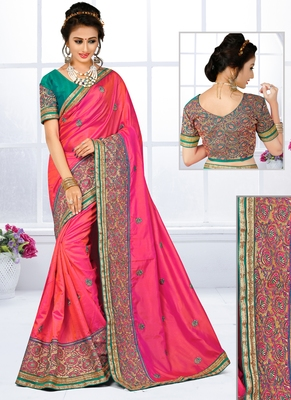 Baby pink hand woven silk saree with blouse