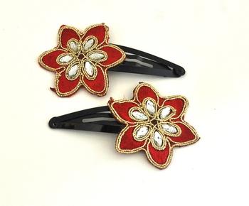 Red flower zari work  snap clips (pair)