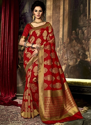 Blood red printed poly cotton saree with blouse