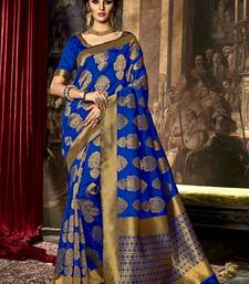 Buy Blue printed poly cotton saree with blouse south-indian-saree online