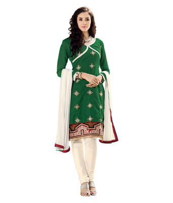 Ethnicbasket Pure Chanderi Green Colored Dress Material.