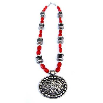Flower Pendant necklace: Red/007Red