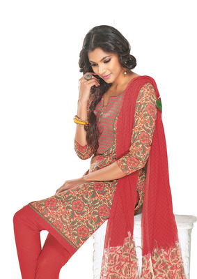 Ethnic Basket Cotton Cream With Maroon Colored Dress Materials.