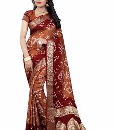 Buy Coffee printed cotton silk saree with blouse cotton-silk-saree online