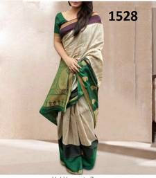 Buy Cream printed silk saree with blouse below-1500 online