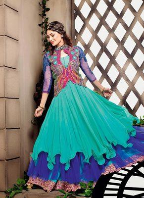 Sea Green Color Georgette Fabric Designer Anarkali Suit With Blue Color Santoon Fabric Bottom