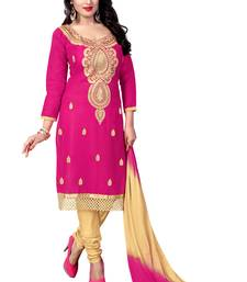 Buy Pink embroidered cotton salwar with dupatta semi-stitched-salwar-suit online