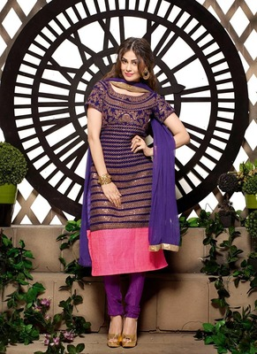 Dark Purple Color Velvet Fabric A-Line Streight Suit with Magenta Colr Shantoon Fabric Bottom