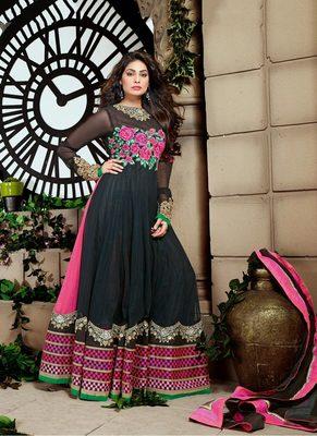 Black Color Net Fabric Designer Anarkali Suit Comes with Black Color Shantoon Fabric Bottom