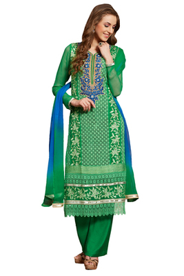 Green Embroidered Georgette Unstiched