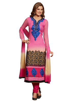 Pink Embroidered Georgette Unstiched