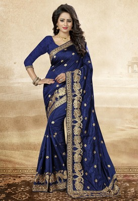 Navy blue embroidered art silk saree with blouse