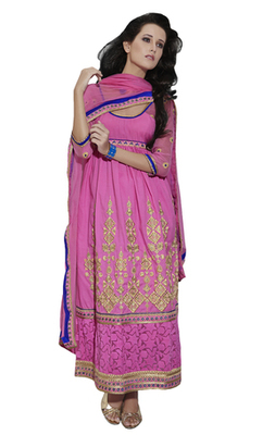 Pink Embroidered Cotton Unstiched