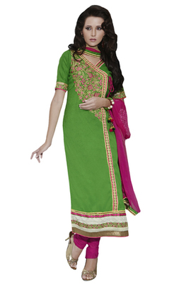 Green Embroidered Cotton Unstiched