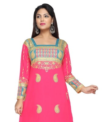 Pink American Crepe Printed Long Kaftan  with Long Sleeves