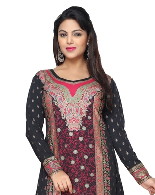 Black with Red  American Crepe Printed Long Kaftan  with Long Sleeves