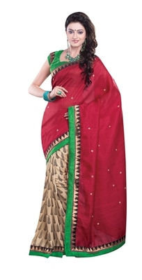 Aesha Designer Maroon Printed Silk Saree with matching blouse