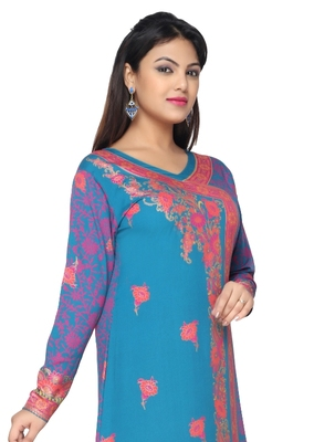 Turquoise Blue with Pink  American Crepe Printed Long Kaftan  with Long Sleeves