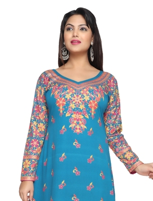 Turquoise Blue American Crepe Printed Long Kaftan  with Long Sleeves