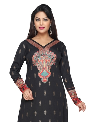 Black American Crepe Printed Long Kaftan  with Long Sleeves