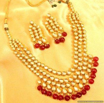 Kundan Meenakari Ruby 3 Line Bridal Look Necklace
