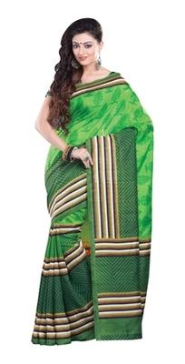 Aesha Designer Green Printed Silk Saree with matching blouse