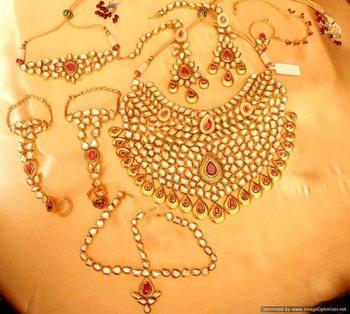 Ruby Kundan Meenakari Royal Bridal Necklace Set