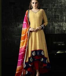 Buy Yellow embroidered bhagalpuri silk salwar with dupatta semi-stitched-salwar-suit online