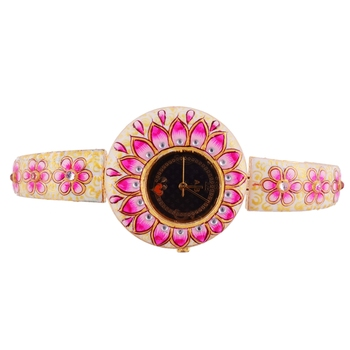Pink White Handpainted Beautiful Designer Watch