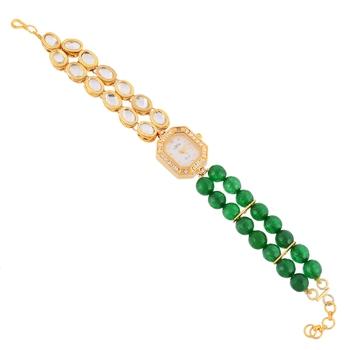 Green Golden Kundan Stylish Watch