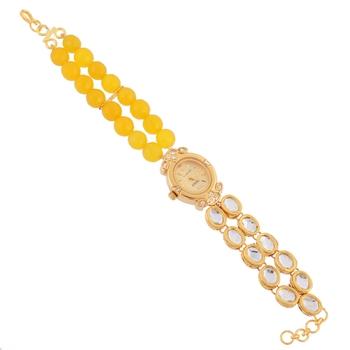 yellow golden stylish beautiful onyx watch