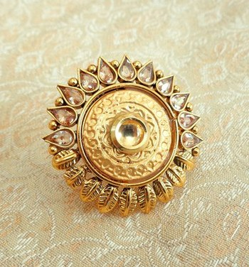 Copper royal golden kundan zircons adjustable finger ring