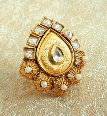 Copper royal white kundan zircons adjustable finger ring