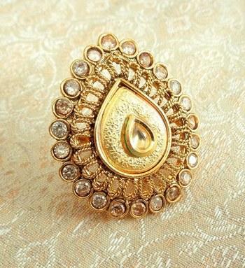 Copper royal golden kundan zircons adjustable finger ring