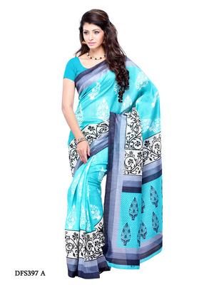 Aqua Blue Color Art Silk Party Wear Fancy Saree