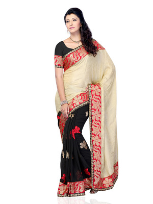 Beige And Black Color Jacquard And Georgette Bollywood Party Wear Designer Saree