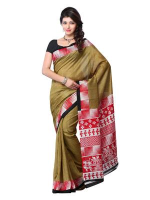 Beige And Red Color Art Silk Festival Wear Saree (Pooja Saree)