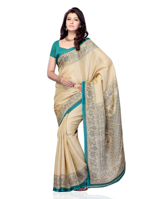Beige Color Art Silk Party Wear Fancy Saree