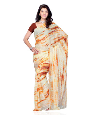 Beige Color Georgette CasualOffice Wear Fancy Saree