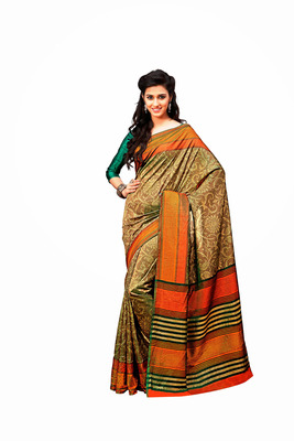 Biege and Multicolor Raw Silk Saree